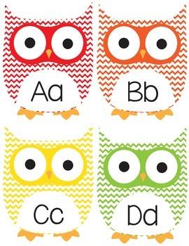Chevron Owl Word Wall