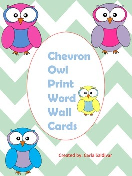 Chevron Owl Word Wall Cards