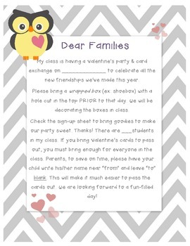 Chevron Owl themed Valentines Day Party Letter to Parents