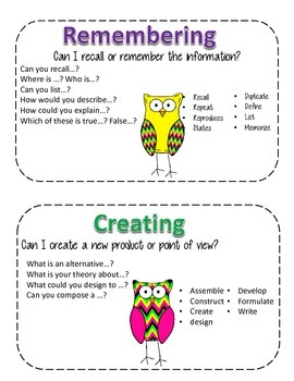 Chevron Owls Bloom's Taxonomy Guided Reading Cards
