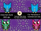 Chevron Owls: Colorful Clipart for Personal or Commercial Use