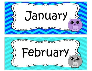 Chevron and Owls Months of the Year