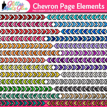 Chevron Page Dividers Clip Art {Rainbow Glitter Borders for Worksheets}