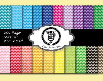 Chevron Paper Pack - 20 pages - Ok for Commercial