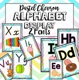 Chevron Pastel Alphabet Display Posters - Victorian Modern Cursive + extra font!