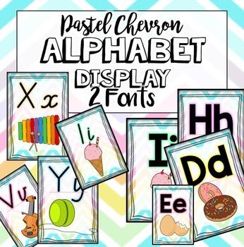 Chevron Pastel Alphabet Display Posters - Victorian Modern Cursive + extra font!