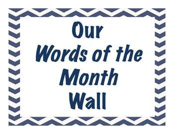 Chevron Pattern Customizable Word Wall