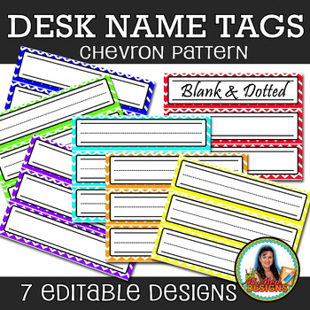 Chevron Pattern Desk Name Plates (Editable File) Set of 42