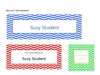 Chevron Pattern Name Plates for Student.