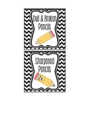 Chevron Pencil Signs (Sharpened and Dull)