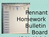 Chevron Pennant Homework Bulletin Board Set (Editable)