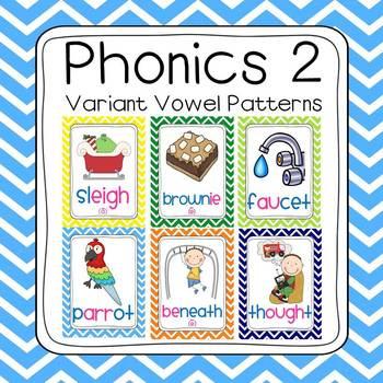 Chevron Phonics 2 Sounds Poster Set (57 sounds)
