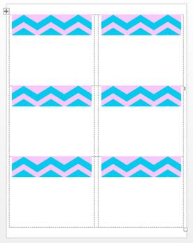 Chevron Pink Aqua Printable Labels Tags