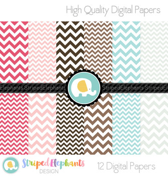 Chevron Pink, Blue and Brown Digital Papers