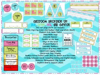 Chevron, Pink, Blue, and Green Classroom Decor Set