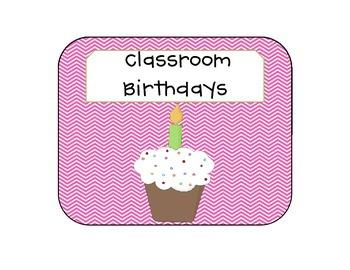 Chevron Pink Cupcake Birthday Clipchart
