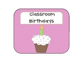 Chevron Pink Cupcake Birthday Clipchart