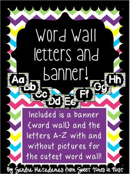 Chevron Word Wall Cards and Banner {Pennant}