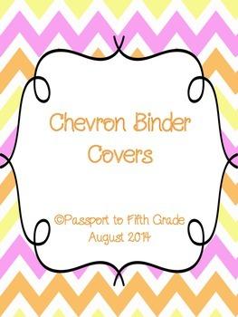 Chevron Pink, Yellow, and Orange Binder Covers