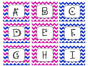 Chevron Pink and Blue Letter Labels