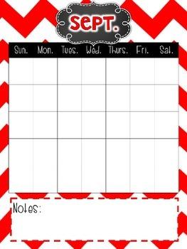 Chevron Planning Ahead Calendar- EDITABLE