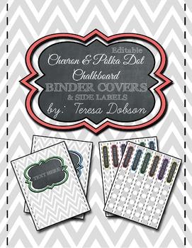 Chevron & Polka Dot Chalkboard Binder Cover & Side Spine L