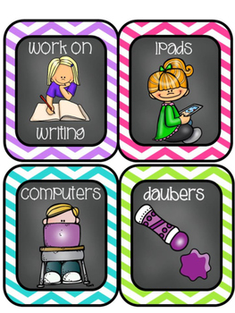 EDITABLE Daily 5 & ELA Center Choice Cards w/ Chalkboard/ White/Colored Centers