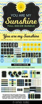 Chevron & Polka Dot Classroom Decor - Full Bundle - Blue Yellow Green - Sunshine