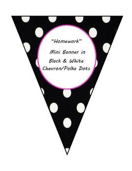 Chevron & Polka Dot Homework Mini Banner-Hot Pink