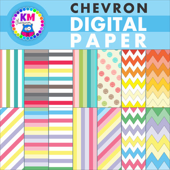 Chevron Polka Dot Stripes Digital Paper Backgrounds