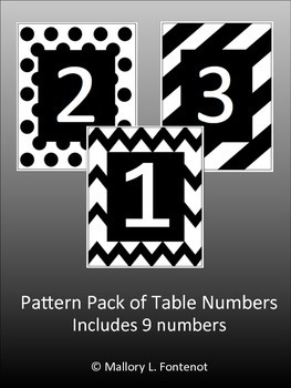 Chevron, Polka Dot, and Lined Table Number Pack