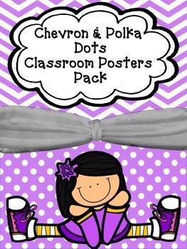 Chevron & Polka Dots Classroom Posters Pack