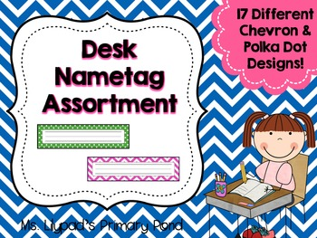 Desk Name Plates / Desk Name Tags {Chevron & Polka Dot Themes}