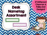 Desk Name Plates / Desk Name Tags {Chevron & Polka Dot Themes}