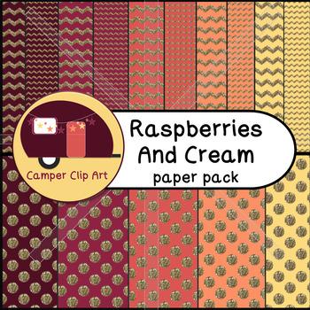 Chevron & Polka Dots Paper Pack, Raspberries and Cream Glitter {CU - ok!}