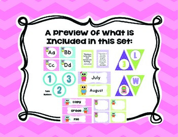 Chevron, Polka Dots, and Owls Classroom Decor Set