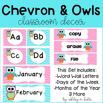 Chevron, Polka Dots, and Owls Classroom Decor Set