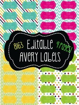 chevron polka dot stripes editable labels 10 per page avery 8163
