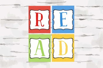 Chevron Primary Color READ sign, 8x10 jpg letters