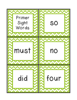 Chevron Primer Sight Word Cards