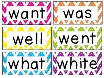 Chevron Primer Sight Word / Word Wall Cards