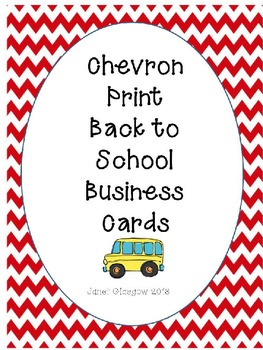 Chevron Print Back to School Business Cards