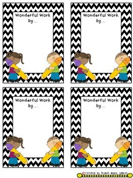 Name Plates for Student Work ~ Chevron Print B/W