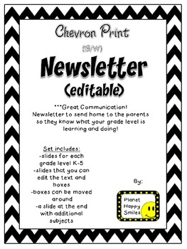Newsletter (Editable) ~ Chevron Print B/W