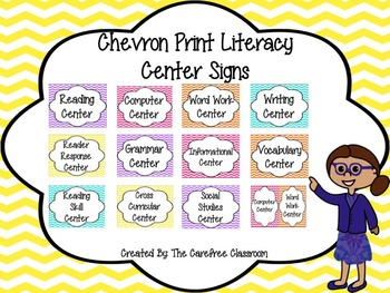 Chevron Print Literacy Center Signs