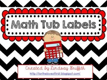 Chevron Print Math Tub Labels