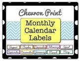 Chevron Print Monthly Calendar Labels