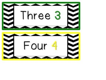 Chevron Print Number Word Cards