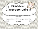 Chevron Print-Rich Classroom Labels