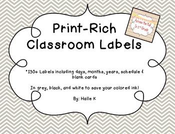 Chevron Print-Rich Classroom Labels